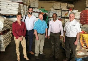 USDBC Caribbean trade team participants visiting a warehouse in Kingston, Jamaica (L to R, Ellen Levinson, Roman Kutnowski, Neil Durrant, Rohan Scott (Kestrel Industries Jamaica), and Norm Krause).