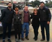 In Salta Province, Argentina,  L-R: Roman Kutnowski (USDBC Regional Representative, Ellen  Levinson (USDBC International Representative), Marco Antonio Macina (Local Producer), Cindi  Allen (U.S. Producer) and Esteban Guerineau (Agronomist for a local farm)