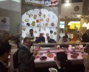 USA Legumes booth with cooked legumes and hummus display case