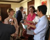 Talking to nutritionists and the press as part of a Central America Emerging Markets Program
